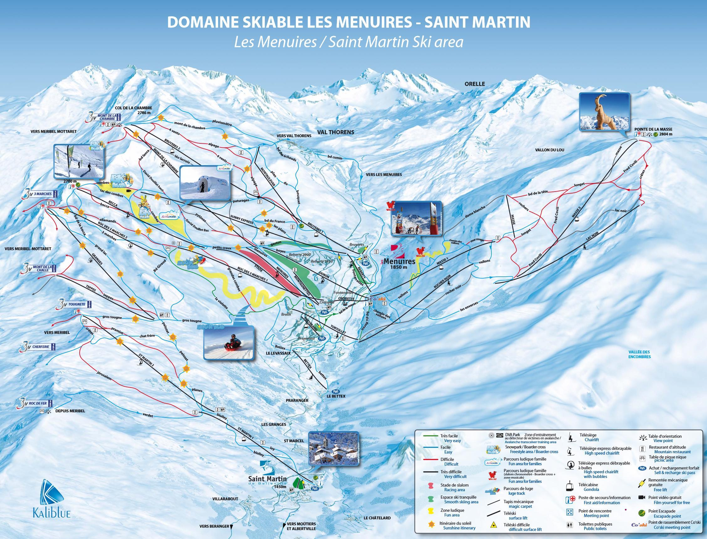 Plan les pistes de saint martin de belleville pr parez for Plan de belle villa